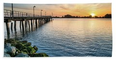 Del Norte Pier And Spring Sunset Hand Towel by Greg Nyquist