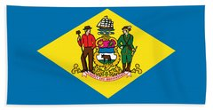 Bath Towel featuring the photograph Delaware State Flag by Robert Banach