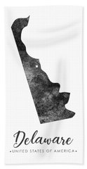 Delaware State Map Art - Grunge Silhouette Bath Towel