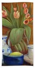 Bath Towel featuring the painting Delft Vase And Mini Tulips by Marlene Book