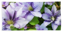 Delicate Climbing Clematis  Bath Towel by Judy Palkimas