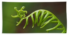 Delicate Fern Frond Spiral Bath Towel by Rona Black