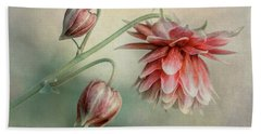 Delicate Red Columbine Bath Towel
