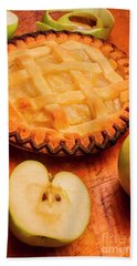 Delicious Apple Pie With Fresh Apples On Table Bath Towel