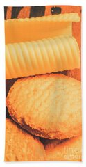 Delicious Cookies With Piece Of Butter Hand Towel