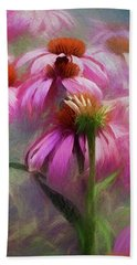 Hand Towel featuring the digital art Delightful Coneflowers by Diane Schuster