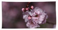 Delightful Pink Prunus Flowers Hand Towel by Joy Watson