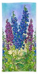 Delphinium Blue Hand Towel by Janet Immordino
