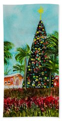 Hand Towel featuring the painting Delray Beach Christmas Tree by Donna Walsh