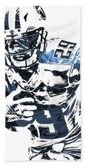 Hand Towel featuring the mixed media Demarco Murray Tennessee Titans Pixel Art by Joe Hamilton