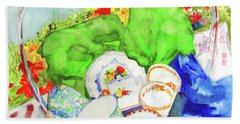 Bath Towel featuring the painting Demitasse Picnic by Sandy McIntire