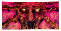 Bath Towel featuring the painting Demon by David Mckinney