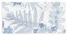 Denim Fern Batik Outline Hand Towel