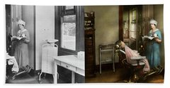 Hand Towel featuring the photograph Dentist - Patients Is A Virtue 1920 - Side By Side by Mike Savad