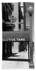 Denver Downtown Storefront Bw Hand Towel by Frank Romeo