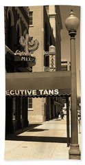 Bath Towel featuring the photograph Denver Downtown Storefront Sepia by Frank Romeo