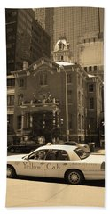 Bath Towel featuring the photograph Denver Downtown With Yellow Cab Sepia by Frank Romeo