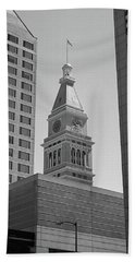 Denver - Historic D And F Clocktower 2 Bw Hand Towel by Frank Romeo