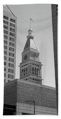 Denver - Historic D And F Clocktower 2 Bw Bath Towel by Frank Romeo
