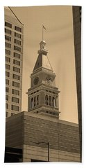 Hand Towel featuring the photograph Denver - Historic D F Clocktower 2 Sepia by Frank Romeo