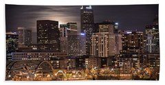 Denver Skyline At Night Hand Towel