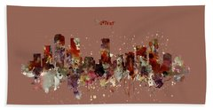 Hand Towel featuring the mixed media Denver Skyline Silhouette by Marian Voicu