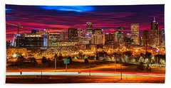 Denver Skyline Sunrise Hand Towel