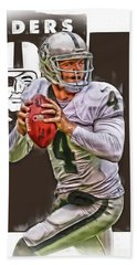 Derek Carr Oakland Raiders Oil Art Hand Towel by Joe Hamilton