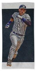 Derek Jeter New York Yankees Art 3 Hand Towel by Joe Hamilton