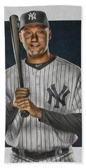 Derek Jeter New York Yankees Art Hand Towel