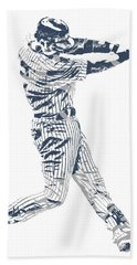 Derek Jeter New York Yankees Pixel Art 10 Hand Towel