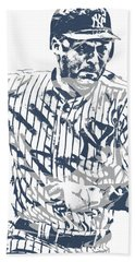 Derek Jeter New York Yankees Pixel Art 12 Hand Towel