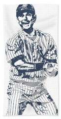 Derek Jeter New York Yankees Pixel Art 13 Hand Towel