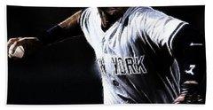 Derek Jeter Hand Towel by Paul Ward