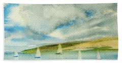 Dark Clouds Threaten Derwent River Sailing Fleet Bath Towel