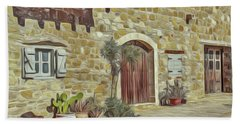 Bath Towel featuring the painting Desert House by Harry Warrick