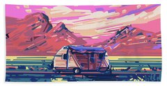 Desert Landscape Hand Towel by Bekim Art