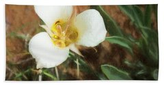 Bath Towel featuring the painting Desert Mariposa Lily by Penny Lisowski