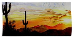 Desert Mustangs Hand Towel by Jimmy Smith