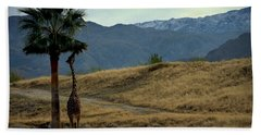 Desert Palm Giraffe 001 Hand Towel by Guy Hoffman