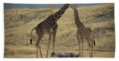 Hand Towel featuring the photograph Desert Palm Giraffe by Guy Hoffman