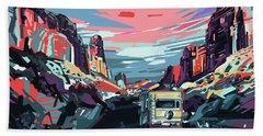 Desert Road Landscape Bath Towel by Bekim Art