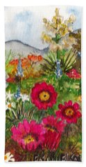 Bath Towel featuring the painting Desert Spring by Eric Samuelson