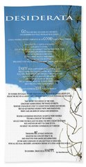 Desiderata Poem Over Sky With Clouds And Tree Branches Bath Towel