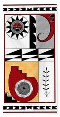 Southwest Collection - Design Five In Red Hand Towel