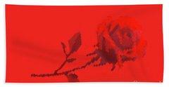 Designer Red Rose Bath Towel by Linda Phelps