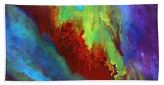 Desire A Vibrant Colorful Abstract Painting With A Glittering Center  Hand Towel