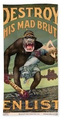 Destroy This Mad Brute - Restored Vintage Poster Hand Towel
