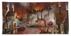 Hand Towel featuring the painting Destruction Of Dudley Castle by Ken Wood