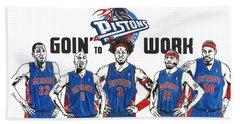 Detroit Goin' To Work Pistons Bath Towel